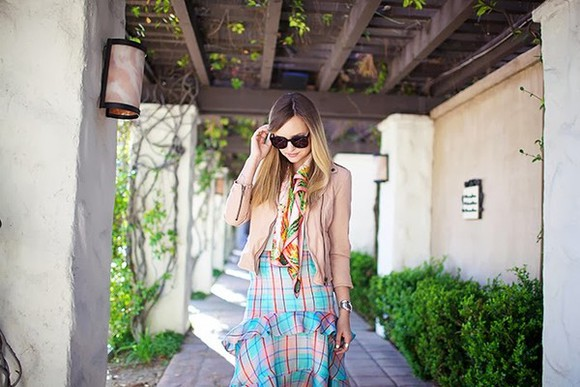 jacket late afternoon sunglasses shoes jewels skirt t-shirt scarf
