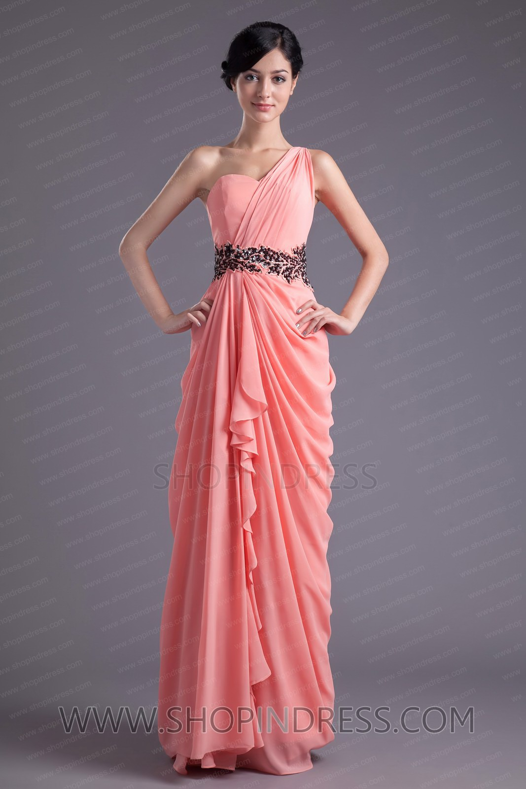 Line one shoulder floor length chiffon pink prom dress with embroidery tskn049 sale at shopindress.com