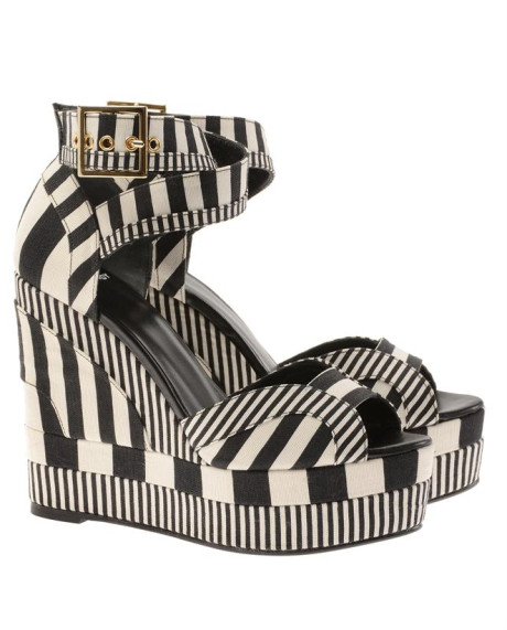 Pierre Hardy Striped Canvas Wedges in Black (black white) | Lyst