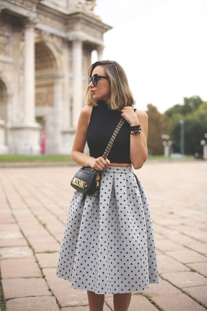 skirt circle skirt midi skirt polka dots grey black high waisted skirt polka dot skirt shirt long round skirt long round vintage style vintage skirt streetstyle fashion vibes cute