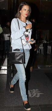 alessandra ambrosio,sweater,mickey mouse sweater