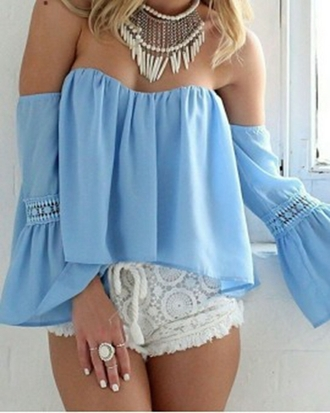 blouse choies long flare sleeve offshoulder