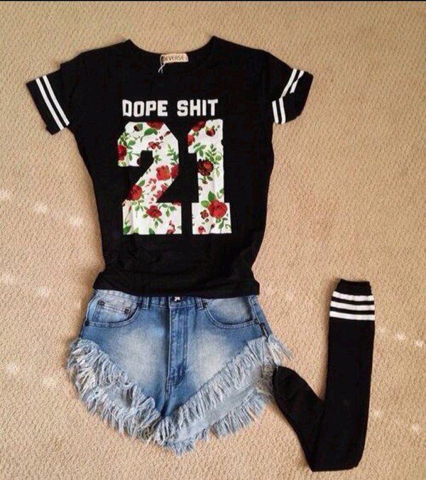 shirt black floral dope stripes blouse dope shit supreme flowers red white roses green leaves leaves blue beige yellow tall High waisted shorts high waisted high waisted high waisted jeans denim jeans cute funny flirty trill hipster jersey socks 21 twentyone 23 number number tee fashion trendy trendy trendy 2014 shorts frayed dangers pale frayed studded shorts cutoff light denim frayed high waisted studded shorts summer ripped ripped freshtops torn light light blue girl underwear knee high socks