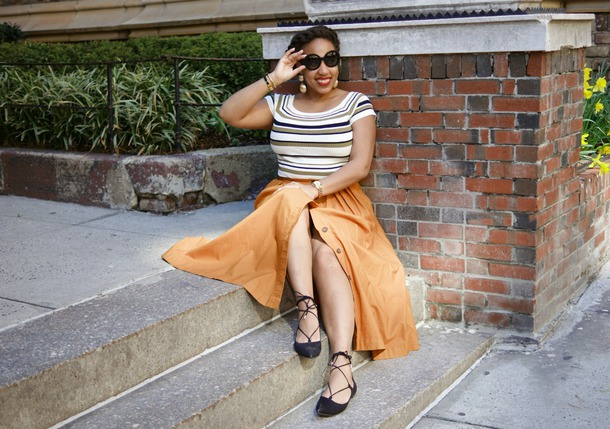 closetconfections blogger jewels top skirt bag sunglasses maxi skirt button up skirt yellow skirt spring outfits flats