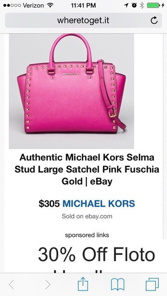 bag michael kors studded pink selma