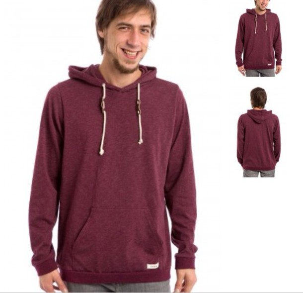 Images of Mens Burgundy Hoodie - Reikian