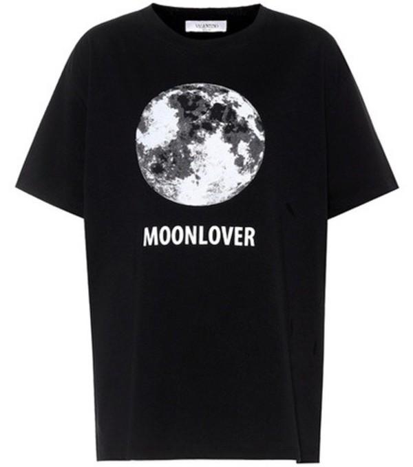 Valentino Printed cotton T-shirt in black