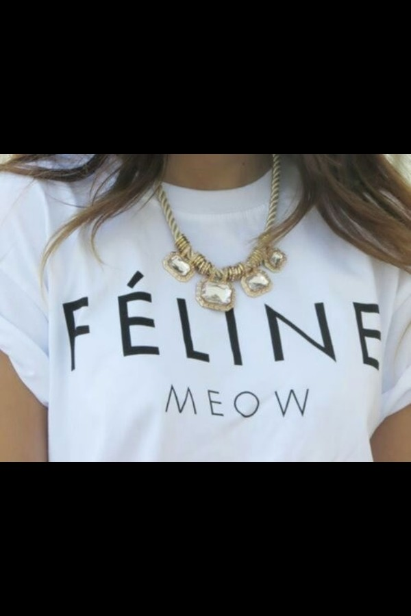 shirt black white t-shirt jewels blouse feline meow