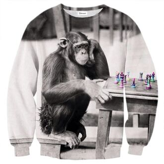 sweater pullover gris monkey white and black