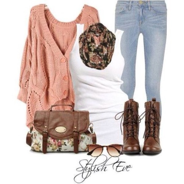 sweater oversized cardigan oversized sweater floral floral scarf boots combat boots infinity scarf vintage vintage boots scarf jeans bag outfit shoes brown combat boots cardigan knitted cardigan muscle tee sunglasses floral sunglasses