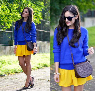 sweater sunglasses shoulder bag skirt yellow bracelets choies blue cobalt bag