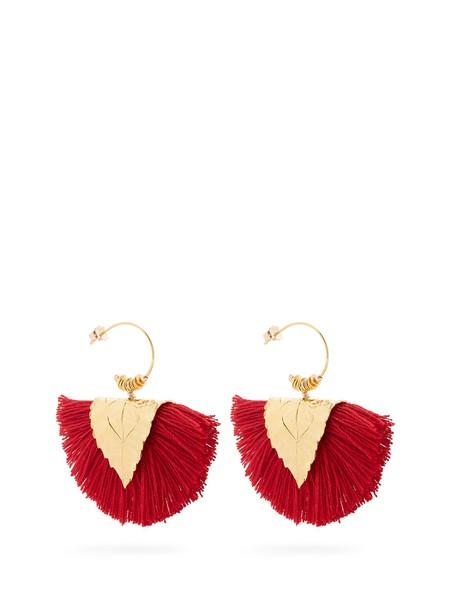 ELISE TSIKIS tassel earrings red jewels