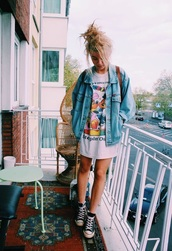 t-shirt,band t-shirt,jacket,denim jacket,disney,black,black converse,converse,messy bun,blue,sky blue denim,blue denim jacket,backpack