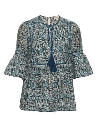 top cotton print silk blue