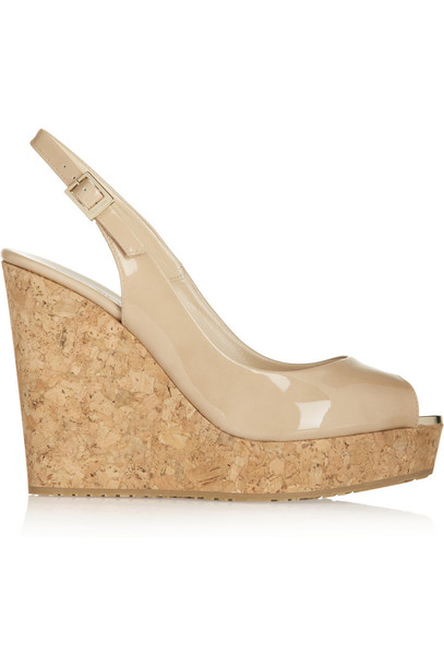 Jimmy Choo sandals wedge sandals leather neutral shoes