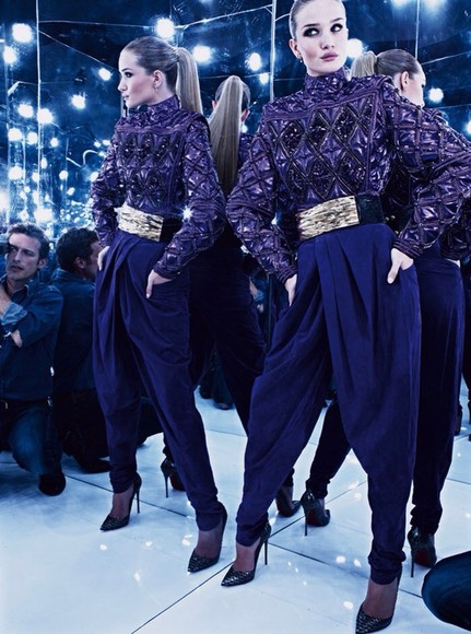 rosie huntington-whitley blouse balmain fashion 2014 purple