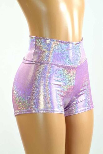 shorts shiny latex short high waisted shorts lilac glitter sparkle fish scales pastel lavender