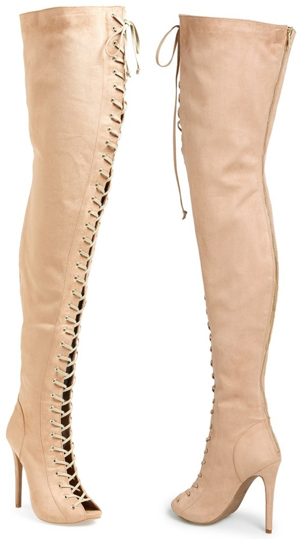 Beige Suede Lace-Up Thigh-High Boot