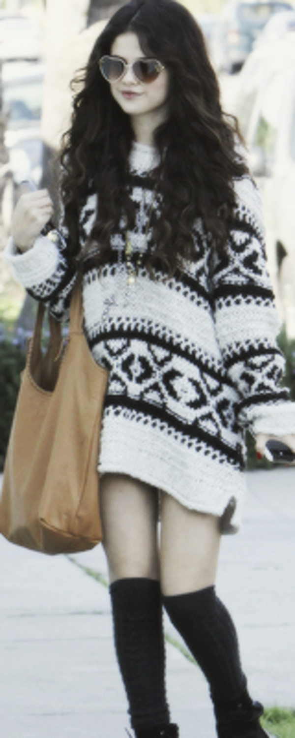 selena gomez aztec dress sweater underwear