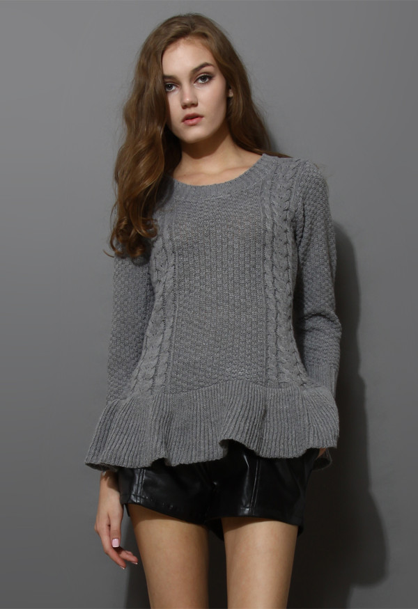 sweater frill hem knitwear top grey