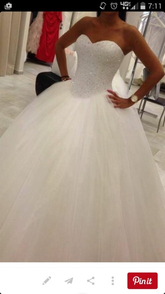 dress wedding dress white dress ball gown tulle wedding dress