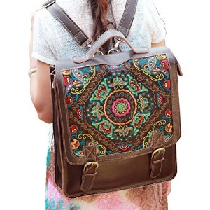 Amazon.com: Juice Action Women's Handmade Genuine Leather Embroidered Bag Laptop Backpack: Computers & Accessories