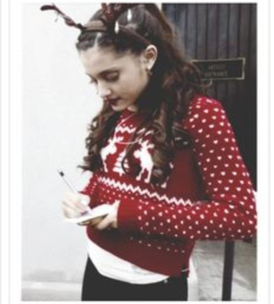 ariana grande christmas sweater hair accessory fashion