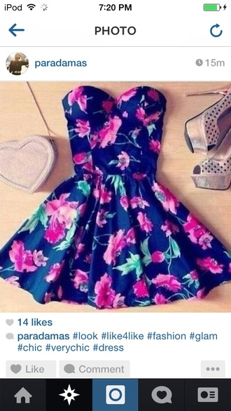 dress floral strapless