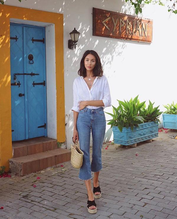 shoes jeans denims shirt white shirt bag sandals black sandals