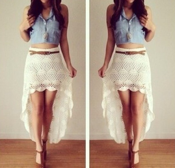 skirt white top girl girly crop cropped cute girly wishlist crop tops rainbow