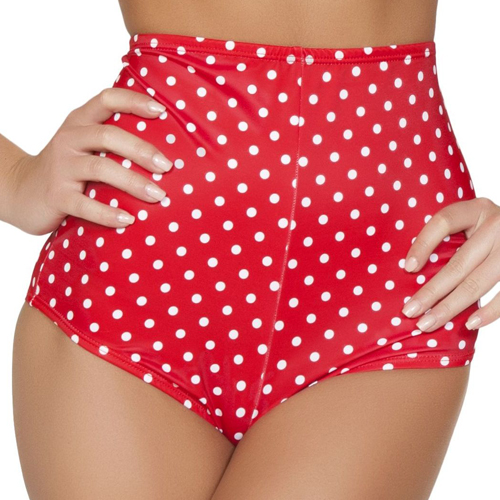 Retro Swimwear - High Waist Pinup Swimsuit Bottoms in Red & White Polka Dots