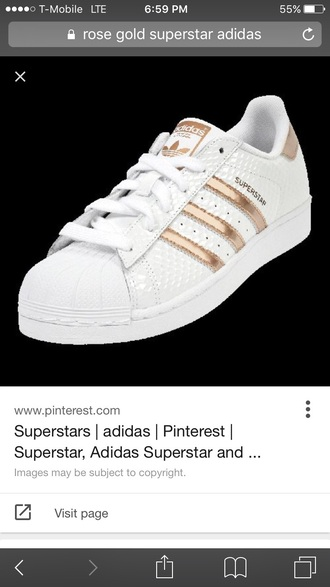 shoes rose gold and white adidas superstars