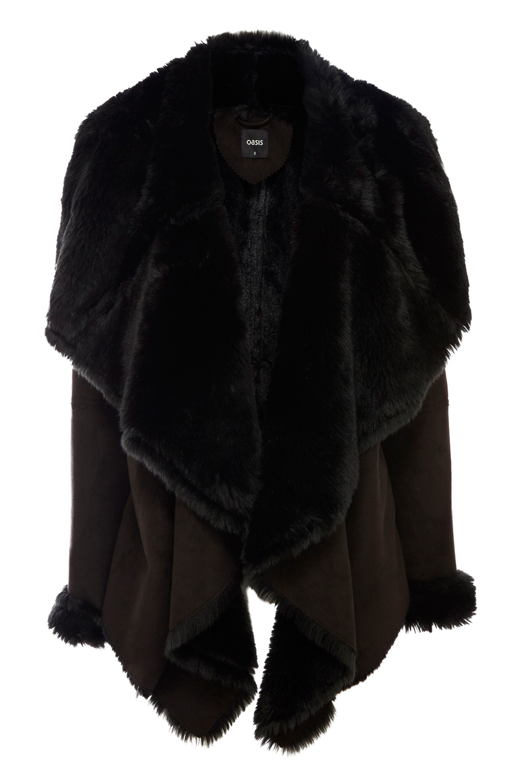 Faux Shearling Drape Jacket | Black | Oasis Stores