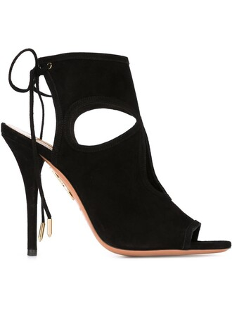 sexy women sandals leather suede black shoes