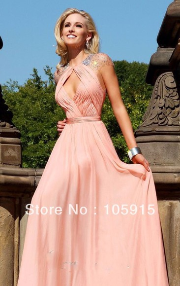 dress prom dress cap sleeves long prom dresses diamond cutout front peach dresses open back