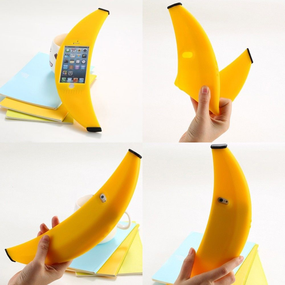 Funny 3d banana soft silicone protector case cover shell for iphone 5 5s