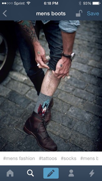 mens shoes menswear boots fashion brown leather boots socks tattoo