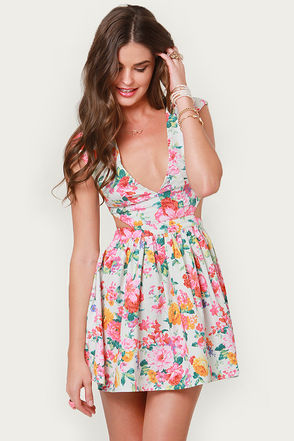 Cute Floral Print Dress - Cutout Dress - Eighties Dress - $46.00