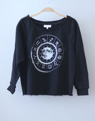 moon hipster shirt sweater crew crewneck crewneck sweater pullover black pullover black black and white t-shirt zodiac zodiac signs astrological indie sweatshirt black sweatshirt grunge signs tumblr soft grunge black sweater galaxy print science cute sweater cute dress cute sweaters lovely pull sweatshort astrology