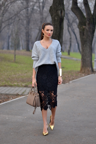 my silk fairytale blogger sweater skirt shoes bag jewels