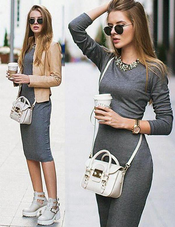 how to wear a bodycon midi skirt casually