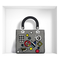 """White lambskin """"lady dior"""" bag with black mesh """"cannage"""" motif and badges - dior"""