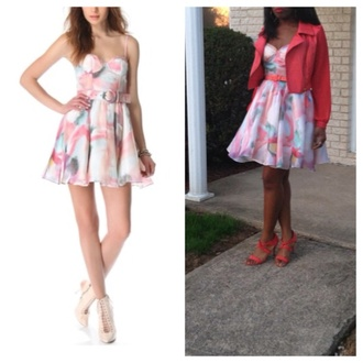 dress fashion fashionista tumblr pastel dress instagram colorful dress pink dress printed dress style