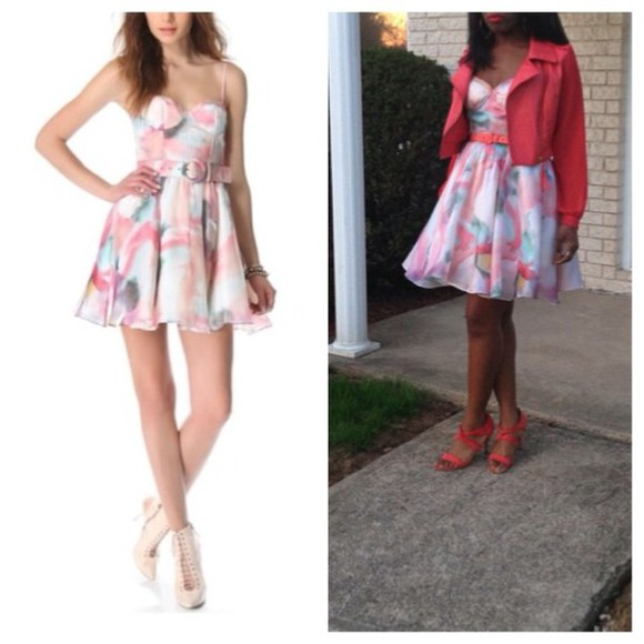 fashion dress alice+olivia fashionista fashion blogger tumblr pastel dress passions for fashion blogger instagramfashion colorful dress pink dress blue dress green dress peach dresses printed dress beyonce style solange