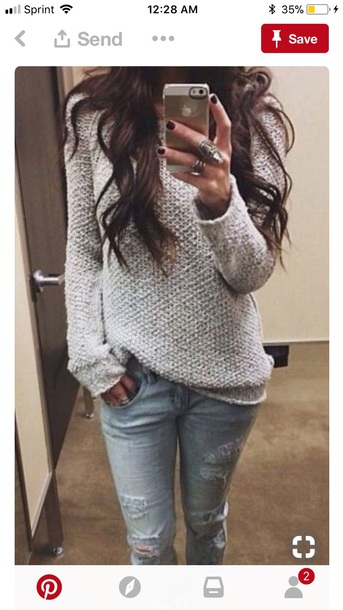 sweater grey fall outfits casual comfy