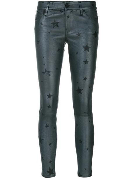 cropped women print grey pants