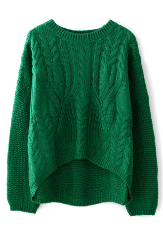 sweater cable knit green white pullover shirt hat