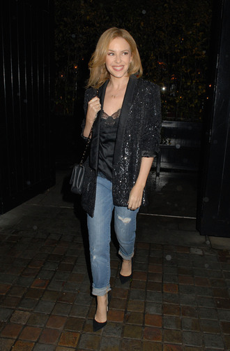 top jeans jacket shoes bag kylie minogue