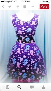 dress,fairy kei,printed dress,purple dress,mini dress