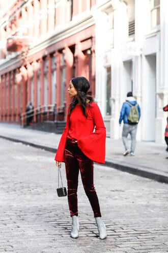 pants tumblr velvet velvet pants burgundy boots silver boots glitter glitter shoes glitter boots top red top bell sleeves